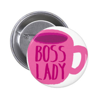 BOSS lady with a pink coffee cup 6 Cm Round Badge