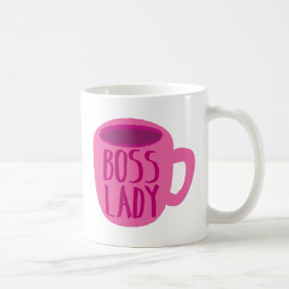 BOSS lady with a pink coffee cup Basic White Mug