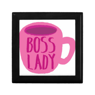 BOSS lady with a pink coffee cup Small Square Gift Box