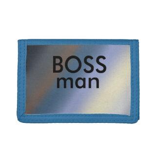 Boss man Silver/steal blends Blue TriFold wallet
