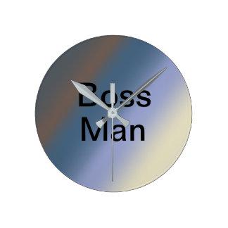 BOSS man silver/steel blue blends clock