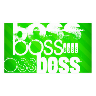 Boss; Neon Green Stripes Double-Sided Standard Business Cards (Pack Of 100)