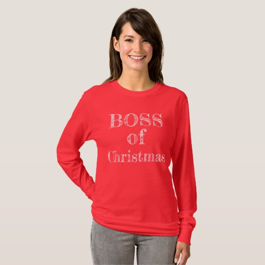Boss of Christmas Red Rustic Humourous Funny T-Shirt