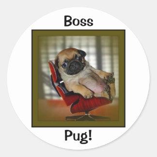 Boss Pug! Round Sticker