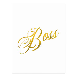 Boss Quote Faux Gold Foil Metallic Strength Postcard