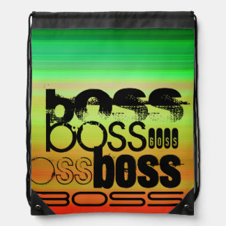 Boss; Vibrant Green, Orange, & Yellow Cinch Bags