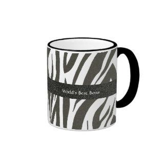 """Boss:  """"World's Best Boss"""" Zebra Stripes Gift Mug"""