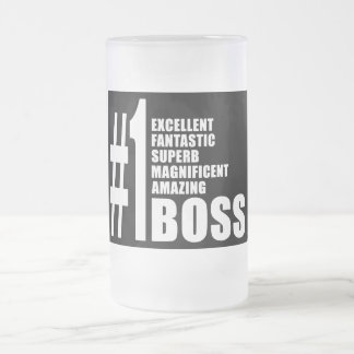 Bosses Birthdays Gifts : Number One Boss Frosted Glass Mug
