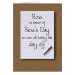 Boss's Day from employees Greeting Card