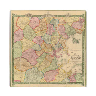 Boston and vicinity maple wood coaster
