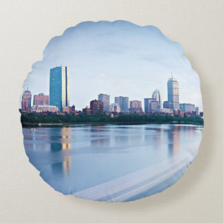 Boston Back bay across Charles River Round Cushion