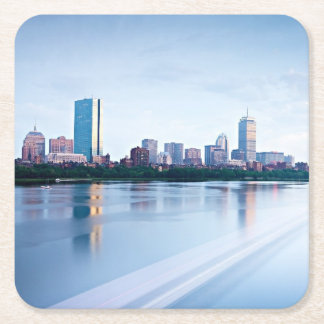Boston Back bay across Charles River Square Paper Coaster