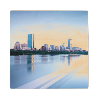 Boston Back bay across Charles River Wood Coaster