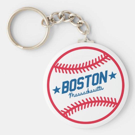 Boston Baseball Basic Round Button Key Ring