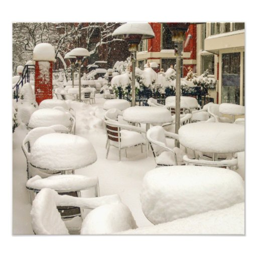 Boston cafe in the snow photo print
