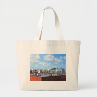 Boston city dish cable antenna roof top building jumbo tote bag