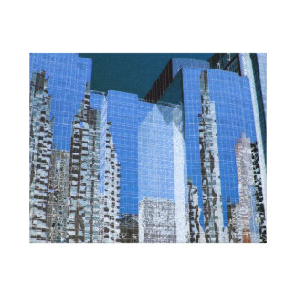 Boston Cityscape Blue Canvas Print