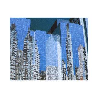 Boston Cityscape Blue Canvas Print