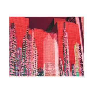 Boston Cityscape Red Gallery Wrap Canvas