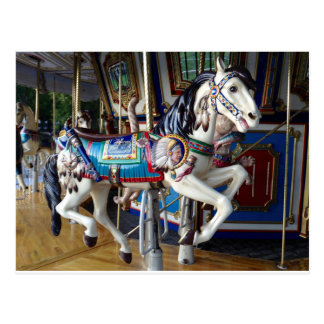 Boston Common Carousel Horse Postcard