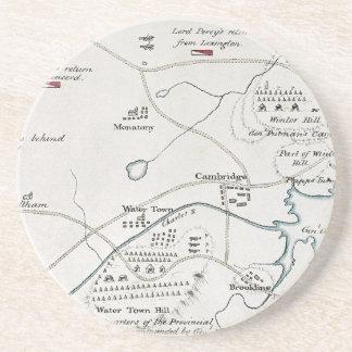 BOSTON-CONCORD MAP, 1775 SANDSTONE COASTER