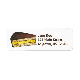 Boston Cream Pie Slice Dessert Address Labels