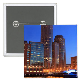 Boston Harbor and skyline.  Boston is one of the 2 15 Cm Square Badge