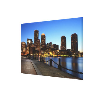 Boston Harbor and skyline.  Boston is one of the 6 Gallery Wrapped Canvas