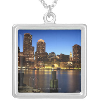 Boston Harbor and skyline.  Boston is one of the 7 Silver Plated Necklace