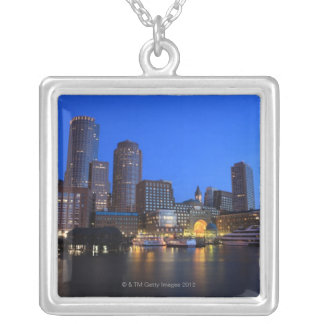 Boston Harbor and skyline.  Boston is one of the 8 Silver Plated Necklace