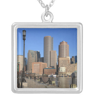 Boston Harbor and skyline.  Boston is one of the Silver Plated Necklace