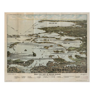 Boston Harbor MA 1920 Antique Panoramic Maps Poster