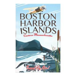 Boston Harbor Massachusetts Flight poster Personalized Stationery