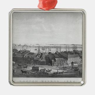 Boston Harbour, 1854 Silver-Colored Square Decoration