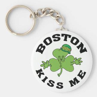 Boston Irish Kiss Me Gift Basic Round Button Key Ring