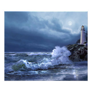 Boston lighthouse under the moonlight art print