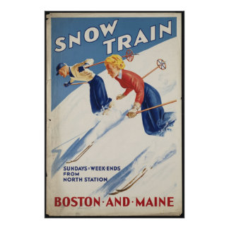 Boston Maine Vintage Travel Poster Ad Retro Prints