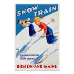 Boston Maine Vintage Travel Poster Restored