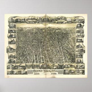 Boston Massachusetts 1888 Antique Panoramic Map Poster