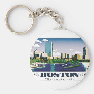 Boston, Massachusetts Basic Round Button Key Ring