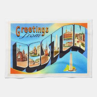 Boston Massachusetts MA Vintage Travel Souvenir Tea Towel