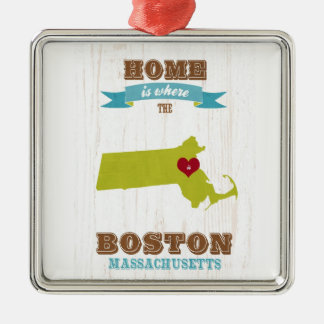 boston, massachusetts Map – Home Is Where Christmas Ornament