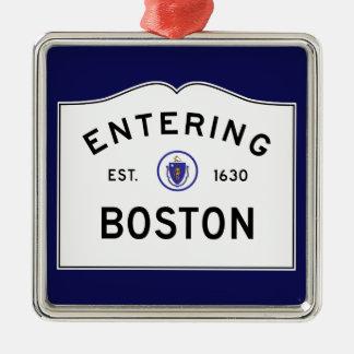 Boston Massachusetts Road Sign Metal Ornament- Blu Christmas Ornament