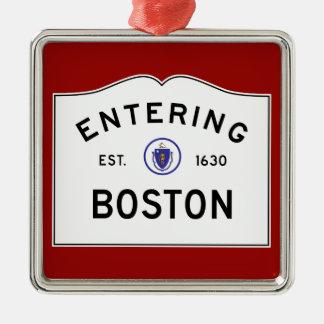 Boston Massachusetts Road Sign Metal Ornament- Red Christmas Ornament