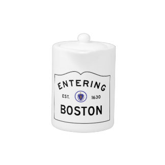 Boston Massachusetts Road Sign Teapot
