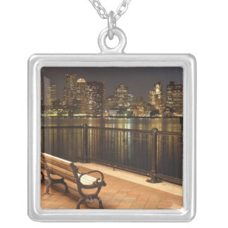 Boston, Massachusetts skyline 3 Silver Plated Necklace