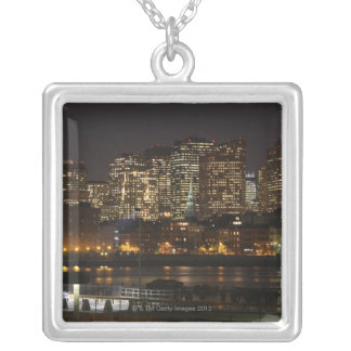 Boston, Massachusetts skyline 6 Silver Plated Necklace