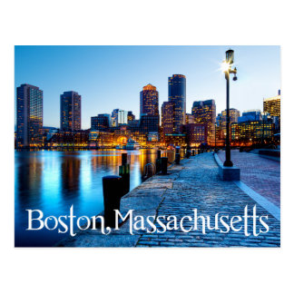 Boston Massachusetts Skyline at Sunset  Post Card