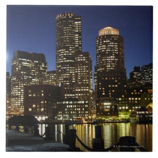 Boston, Massachusetts skyline Large Square Tile