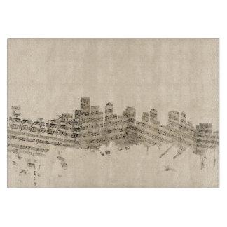 Boston Massachusetts Skyline Sheet Music Cityscape Cutting Board